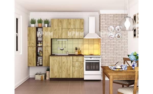 Кухня Сити 229 в цвят венге и дъб гран сасо
