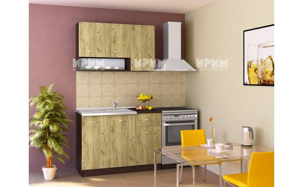 Кухня Сити 235 в цвят венге и дъб гран сасо