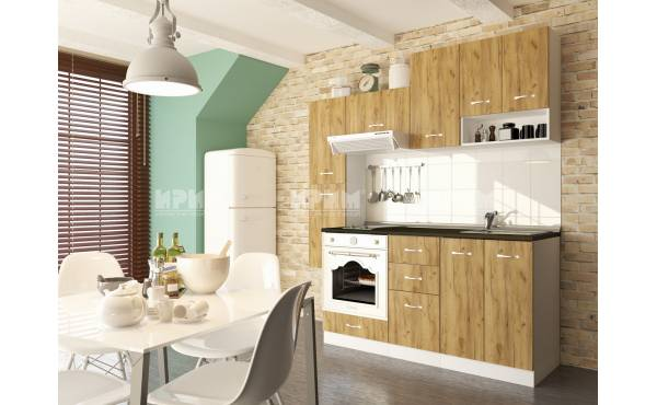 Кухня Сити 417 в цвят дъб гран сасо и бяло