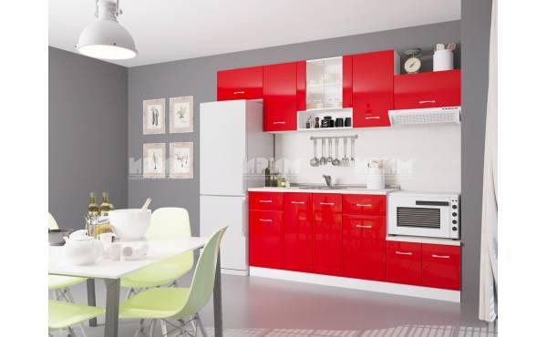 Кухня Сити 441 в червен гланц