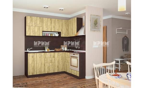 Ъглова кухня Сити 707 в цвят венге и дъб гран сасо