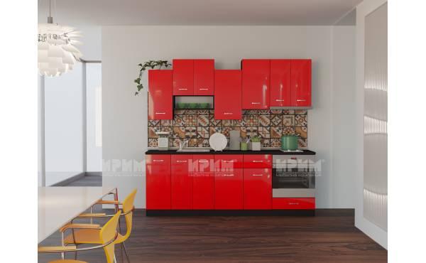 Кухня Сити 724 в цвят венге и червен гланц