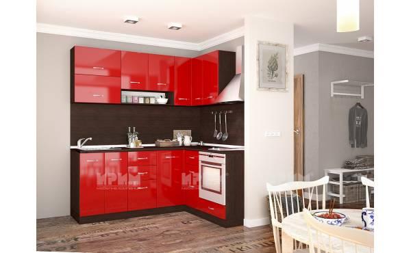 Ъглова кухня Сити 718 в цвят венге и червен гланц